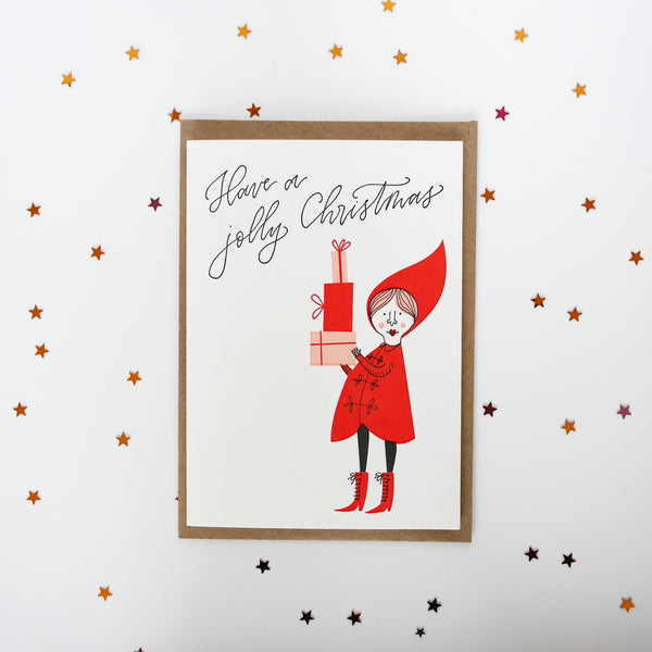 Imogen Owen Letterpress Christmas Card 'Jolly Elf' - HUEBOW
