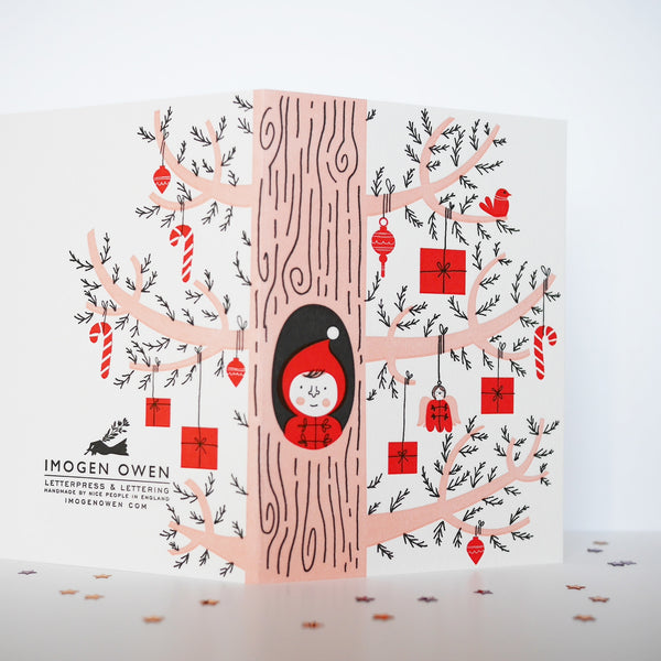 Imogen Owen Letterpress Christmas Card 'Elf Peeping Out Of Gift Tree' - HUEBOW