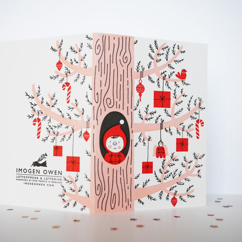 Imogen Owen Letterpress Christmas Card 'Elf Peeping Out Of Gift Tree'