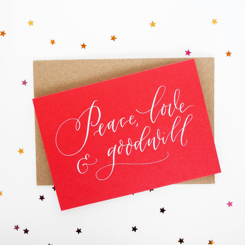 Imogen Owen Letterpress Christmas Card 'Peace, Love & Goodwill'