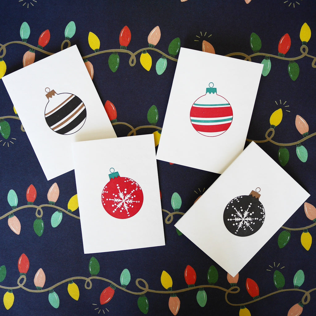 Penguin Ink Letterpress Baubles Christmas Note Cards - HUEBOW