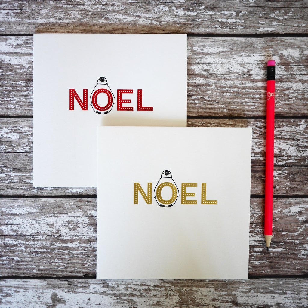 Penguin Ink Letterpress Noel Christmas Card - HUEBOW