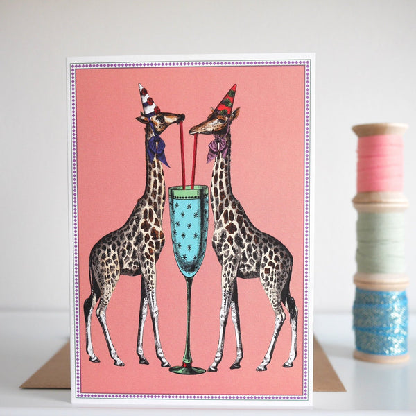 Chase and Wonder Party Giraffes Birthday Card - HUEBOW