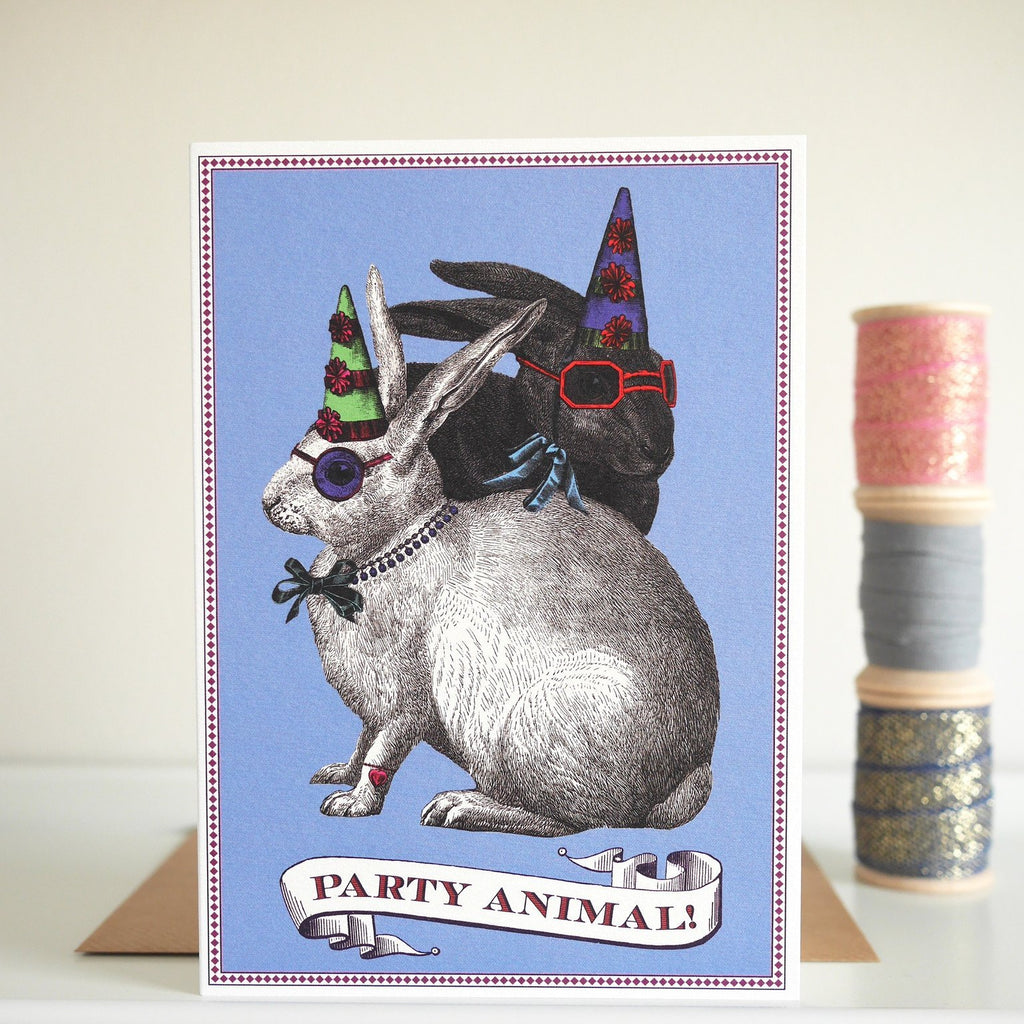 Chase and Wonder Party Rabbits Birthday Card - HUEBOW