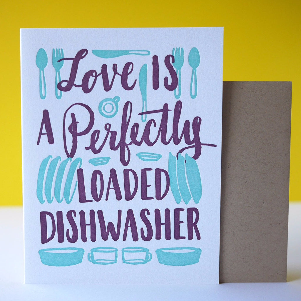 Smudge Ink Letterpress Dishwasher Love Card - HUEBOW