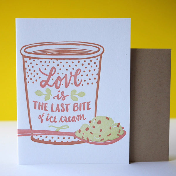 Smudge Ink Letterpress Last Bite Love Card - HUEBOW