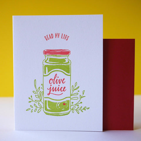 Smudge Ink Letterpress Olive Juice (I Love You) Card
