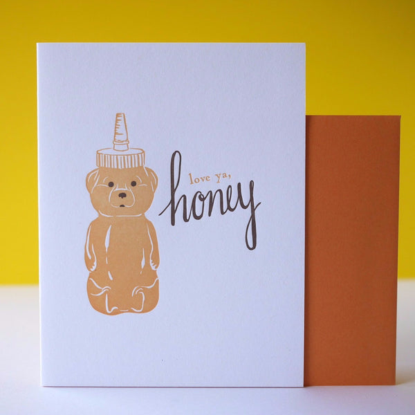 Smudge Ink Letterpress Honey Bear Love Card - HUEBOW