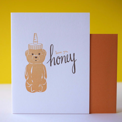 Smudge Ink Letterpress Honey Bear Love Card