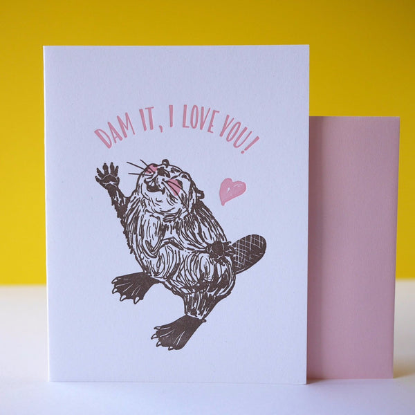 Smudge Ink Letterpress Beaver Love Card - HUEBOW