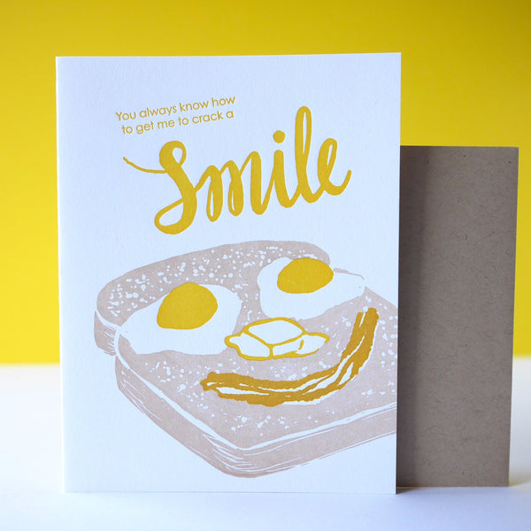 Smudge Ink Letterpress Eggs and Toast Father's Day Card - HUEBOW