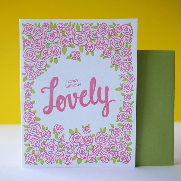 Smudge Ink Letterpress Lovely Pink Floral Birthday Card - HUEBOW