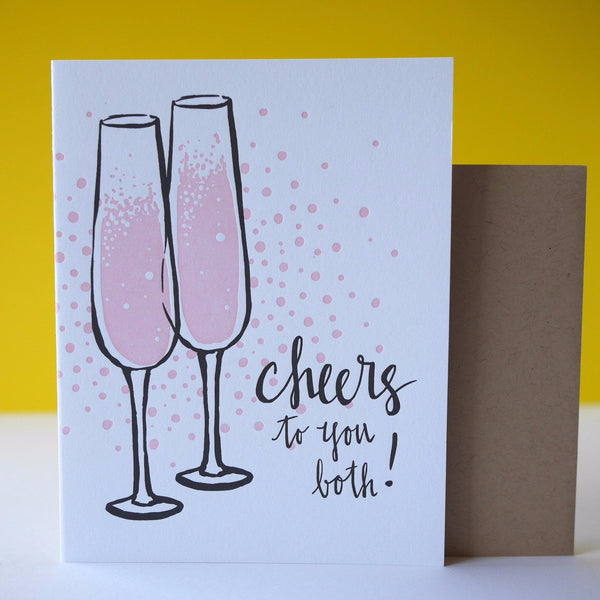 Smudge Ink Letterpress Champagne Flutes Congrats Card - HUEBOW