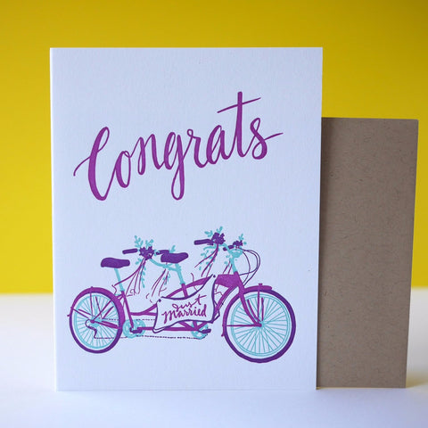 Smudge Ink Letterpress Tandem Bike Congrats Card