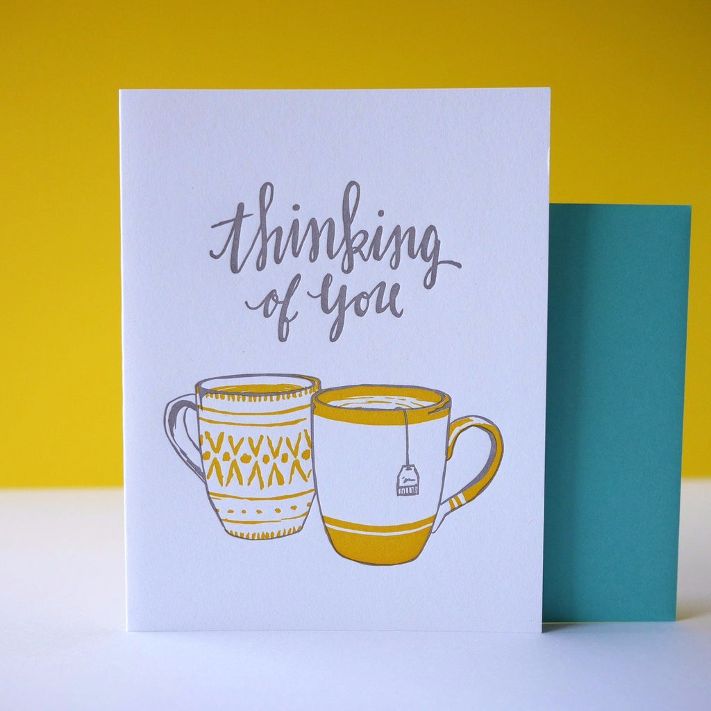 Smudge Ink Letterpress Teatime Thinking Of You Card - HUEBOW