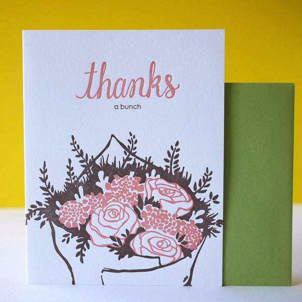 Smudge Ink Letterpress Thanks A Bunch Card - HUEBOW
