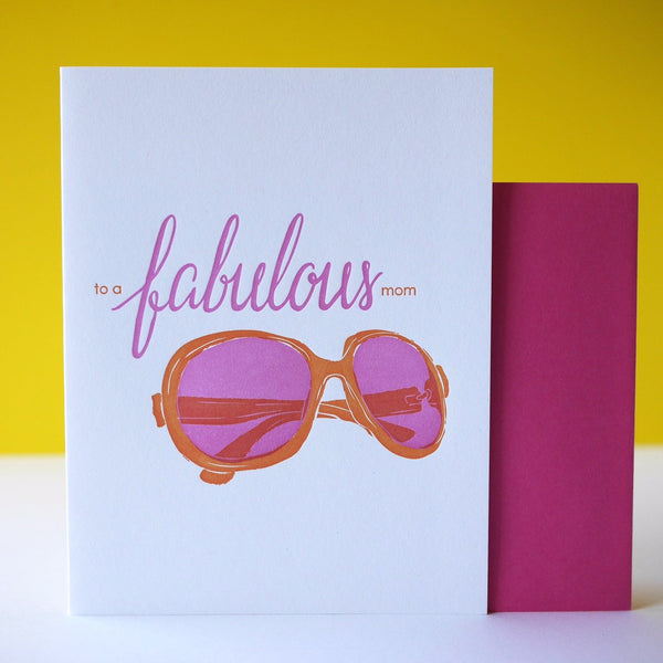 Smudge Ink Letterpress Mom's Sunglasses Card - HUEBOW
