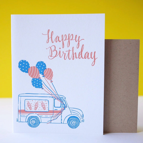 Smudge Ink Letterpress Ice Cream Truck Birthday Card - HUEBOW