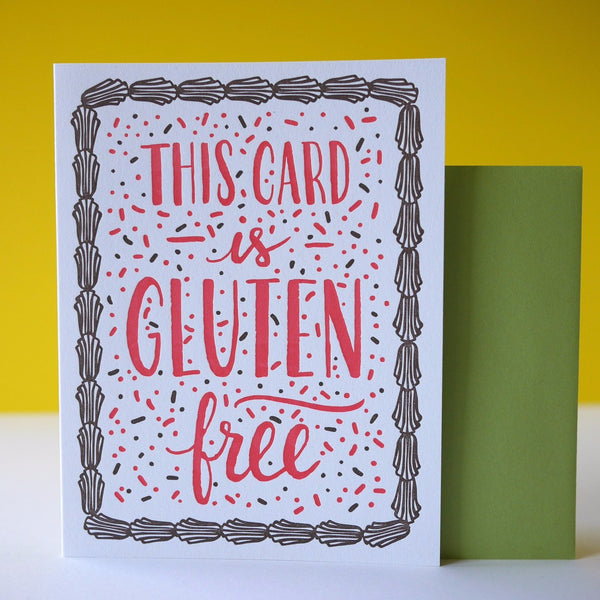 Smudge Ink Letterpress Gluten Free Birthday Card - HUEBOW