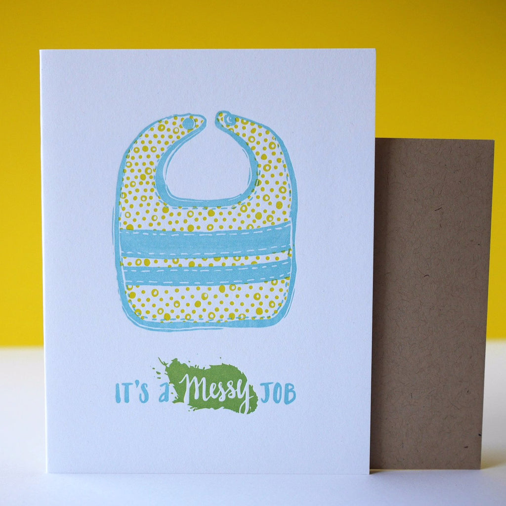 Smudge Ink Letterpress Messy Bib Baby Card - HUEBOW