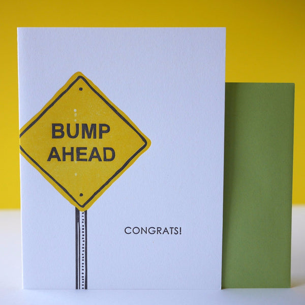 Smudge Ink Letterpress Bump Ahead Baby Card - HUEBOW