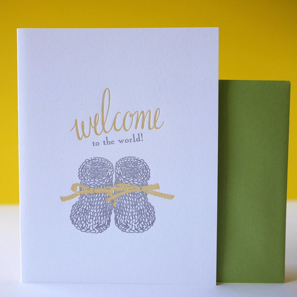 Smudge Ink Letterpress Knitted Booties Baby Card - HUEBOW