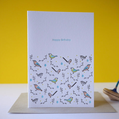Inky and the Beast Letterpress British Garden Birds Birthday Card