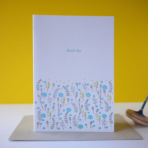 Inky and the Beast Letterpress Meadow Thank You Card
