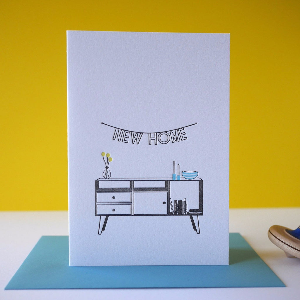 Inky and the Beast Letterpress New Home Greeting Card - HUEBOW