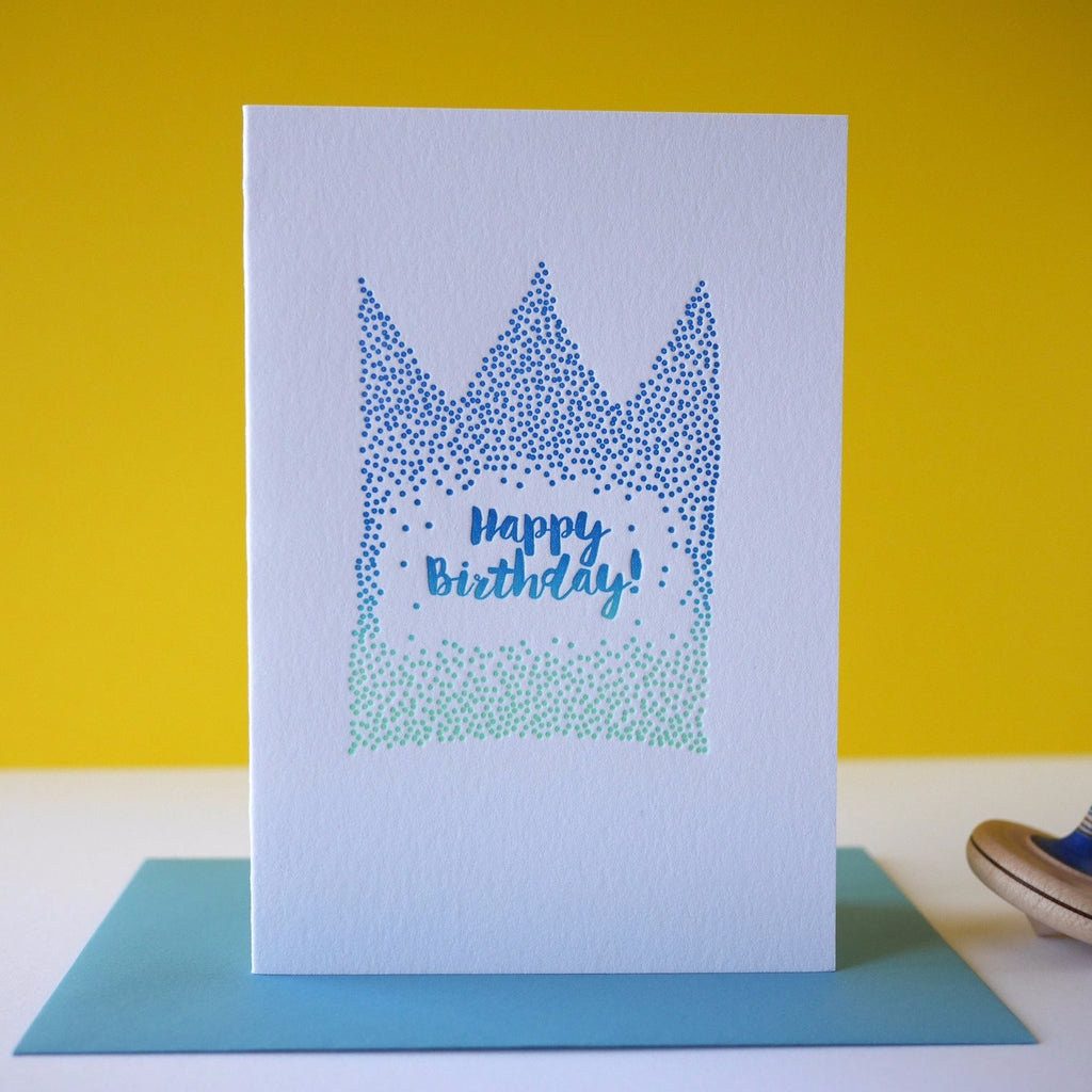 Inky and the Beast Letterpress Confetti Crown Birthday Card - HUEBOW
