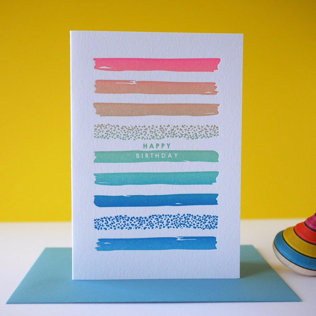 Inky and the Beast Letterpress Paint Birthday Card - HUEBOW