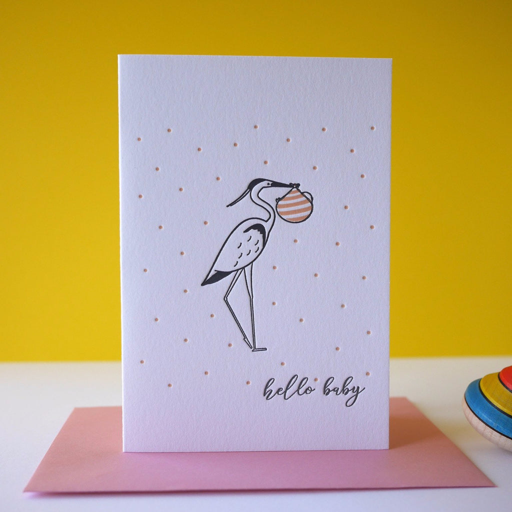 Inky and the Beast Letterpress Hello Baby Card  (2 colours) - HUEBOW