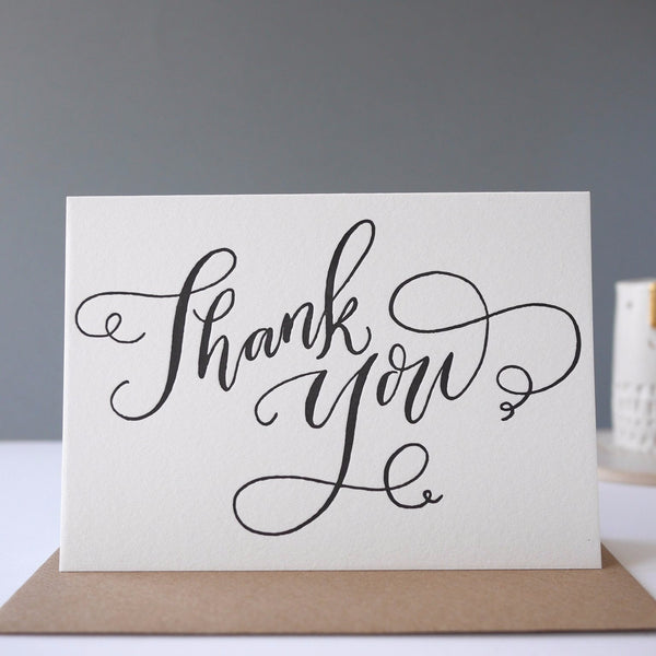 Imogen Owen  Letterpress Card 'Thank You' - HUEBOW