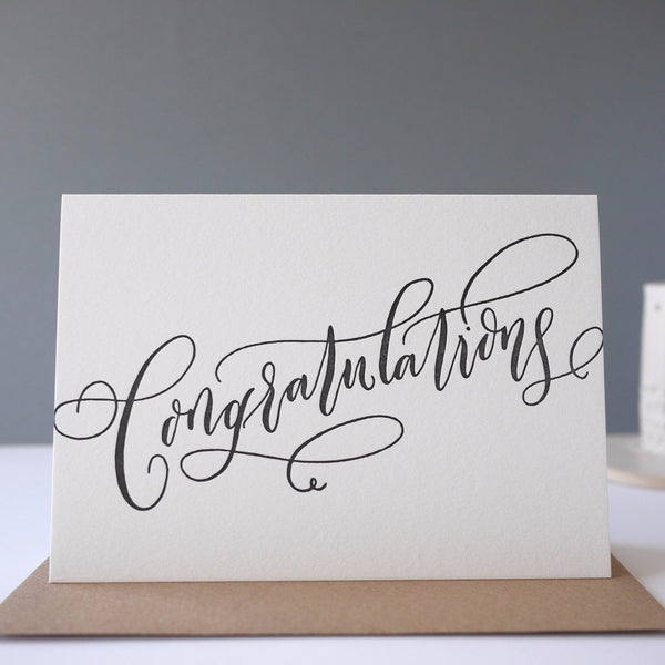 Imogen Owen Letterpress Card 'Congratulations' - HUEBOW