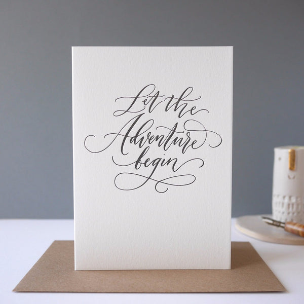 Imogn Owen Letterpress Card 'Let The Adventure Begin' - HUEBOW