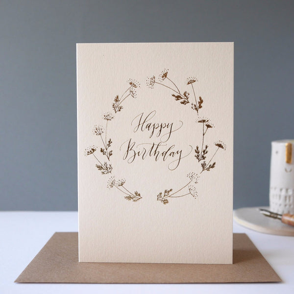 Imogen Owen Letterpress Foiled Card 'Happy Birthday' - HUEBOW