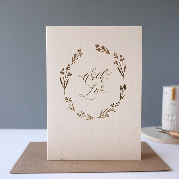Imogen Owen Letterpress Foiled Card 'WITH LOVE' - HUEBOW