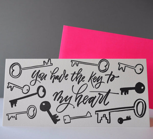 Imogen Owen Letterpress Card 'Key To My Heart' - HUEBOW
