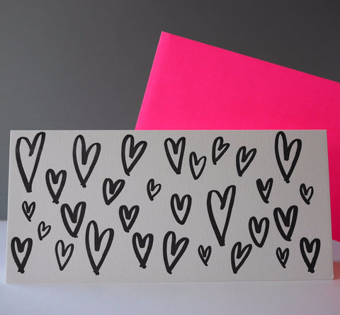 Imogen Owen Letterpress Card 'HEARTS'