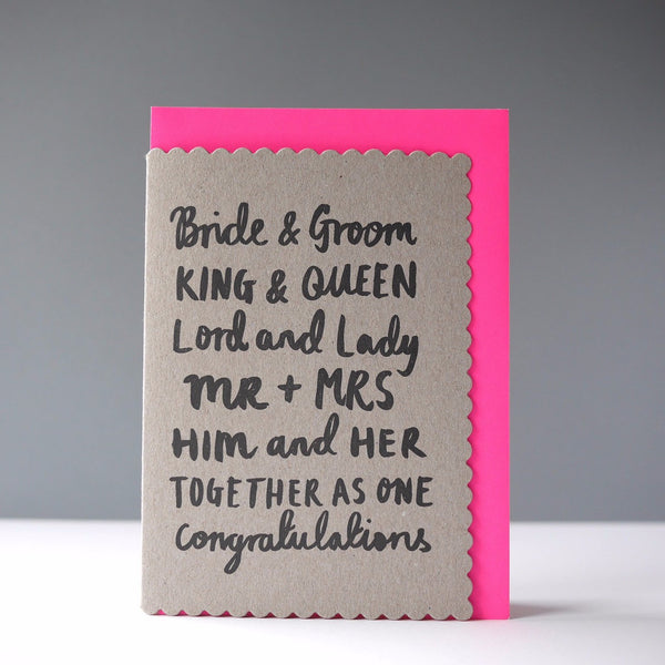 Katie Leamon Bride & Groom Card - HUEBOW