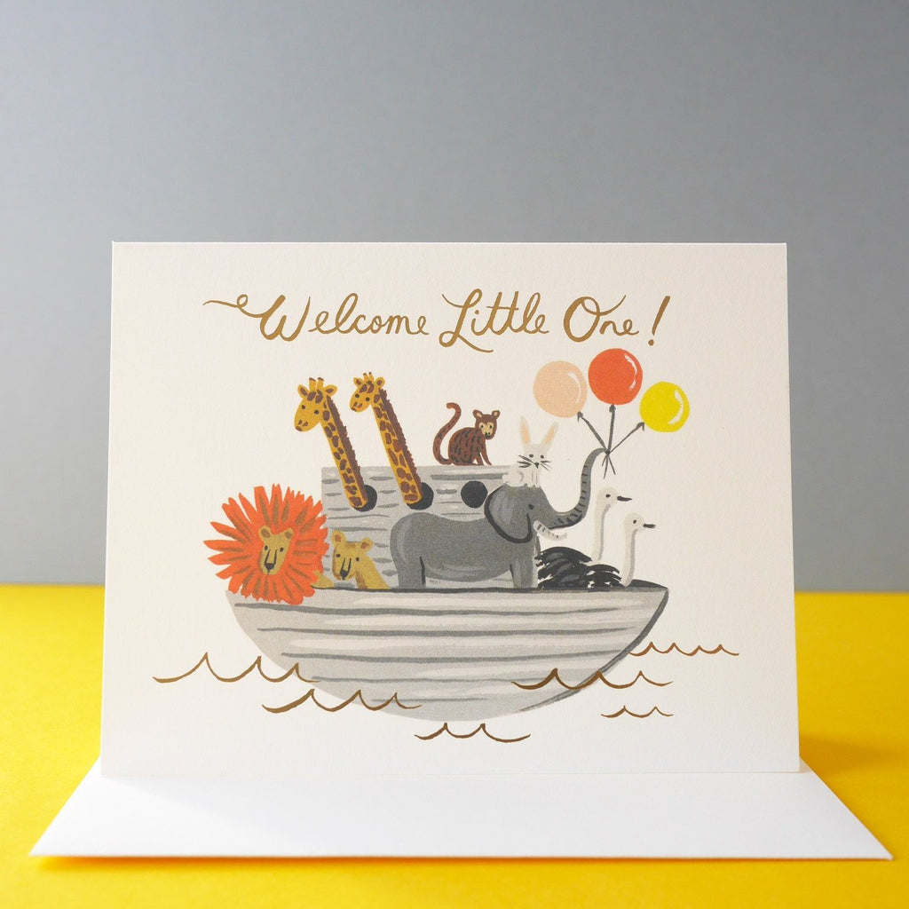 Rifle Paper Co. Noah's Ark Baby Card - HUEBOW
