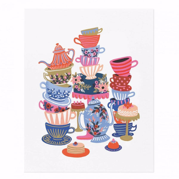 Rifle Paper Co. Alice's Adventures in Wonderland Teacups Art Print - HUEBOW
