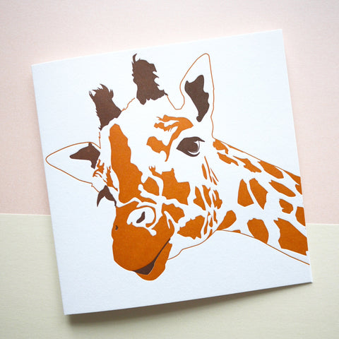 Penguin Ink Letterpress Card 'Giraffe'