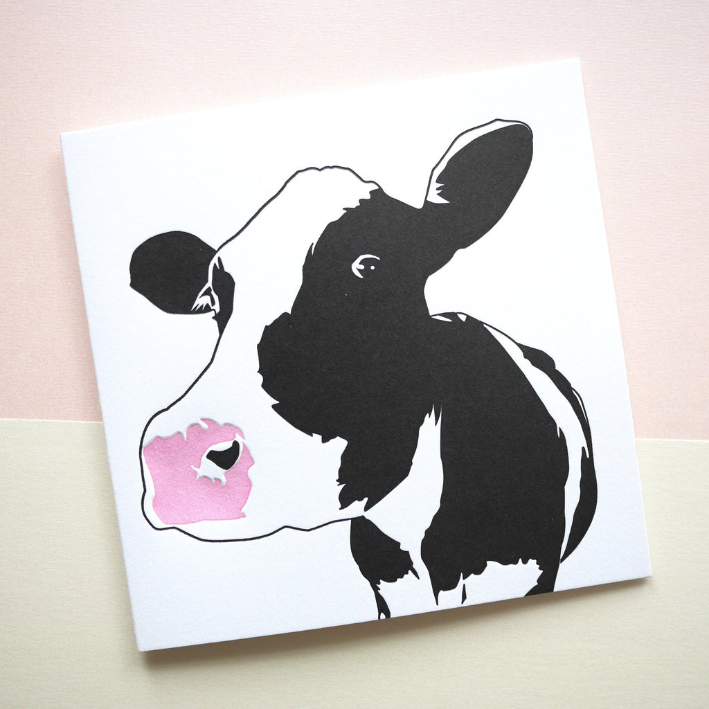 Penguin Ink Letterpress Card 'Cow' - HUEBOW