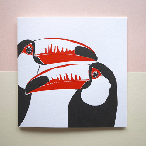 Penguin Ink Letterpress Card 'Toucans'