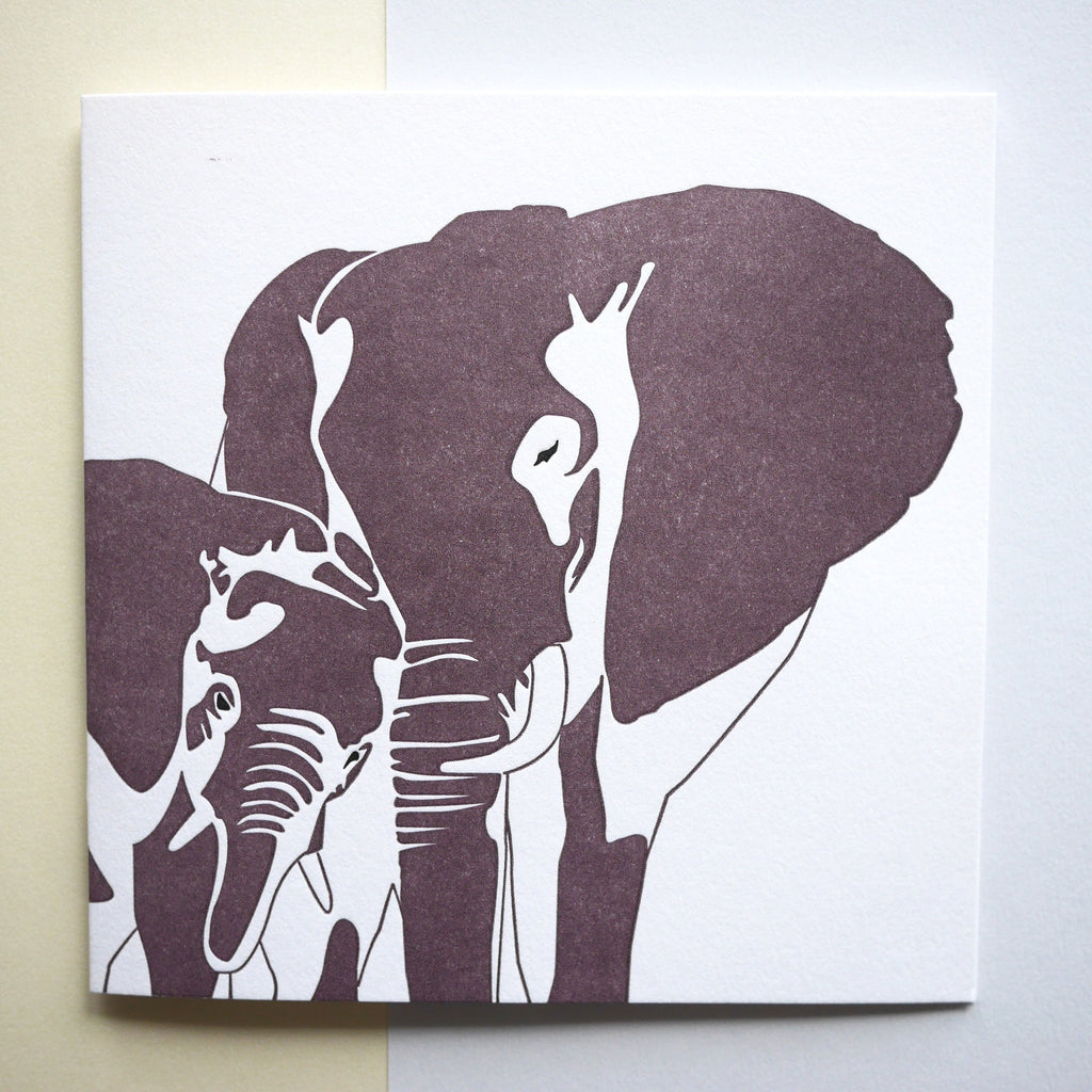 Penguin Ink Letterpress Card 'Elephants' - HUEBOW