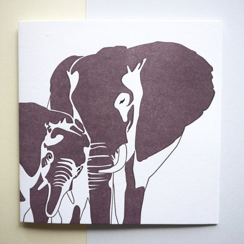 Penguin Ink Letterpress Card 'Elephants'