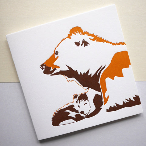 Penguin Ink Letterpress Card 'Bears'