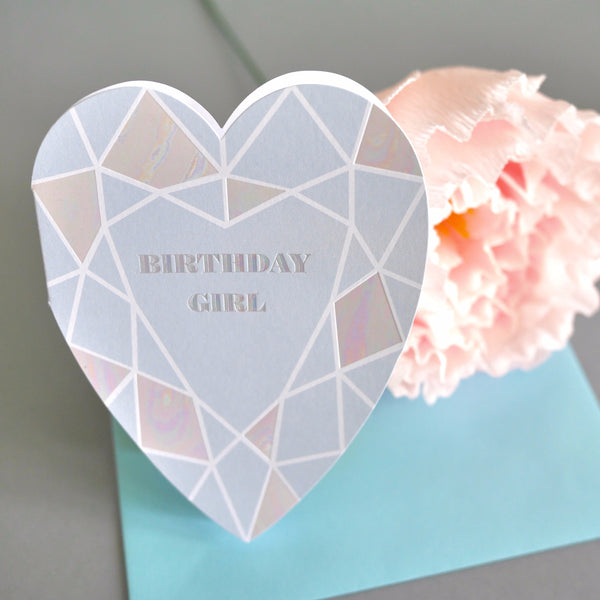 Berin Made Birthday Girl Heart Gem Card - HUEBOW