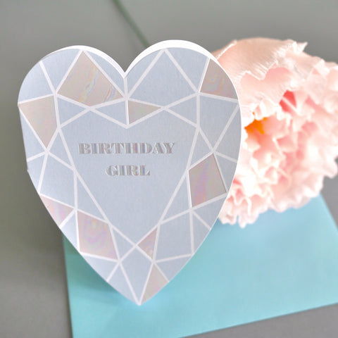 Berin Made Birthday Girl Heart Gem Card